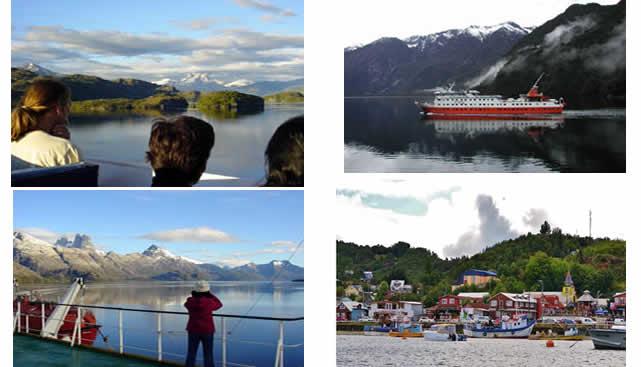 En barco por los fiordos del Chile austral